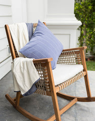 Navy Pinstripe Pillow and Navy Grid Quilt | The Little Market