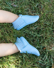 Dusty Blue Baby Moccasins | The Little Market