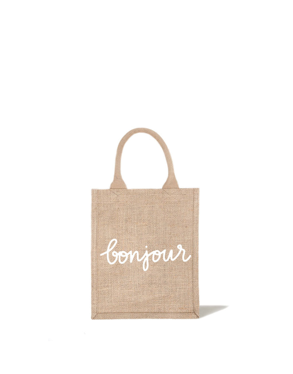 Medium Bonjour Reusable Gift Tote In White Font | The Little Market