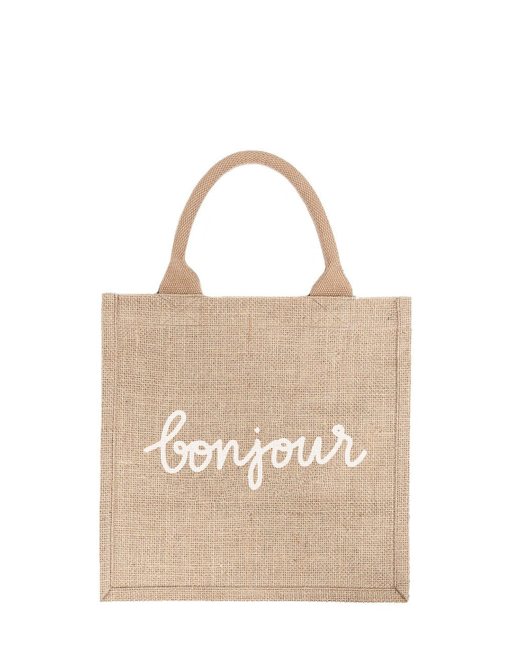 Large Bonjour Reusable Gift Tote In White Font | The Little Market