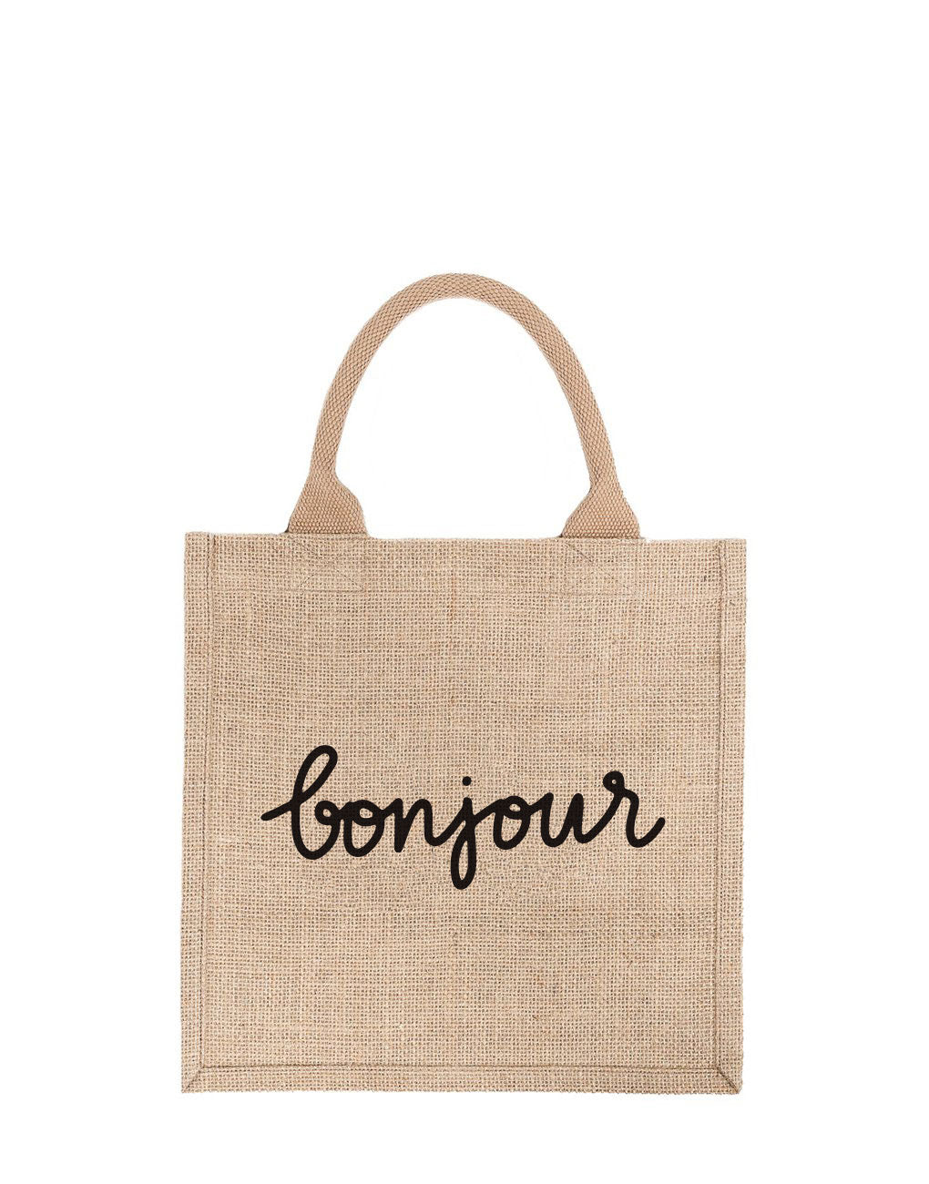 Large Bonjour Reusable Gift Tote In Black Font | The Little Market