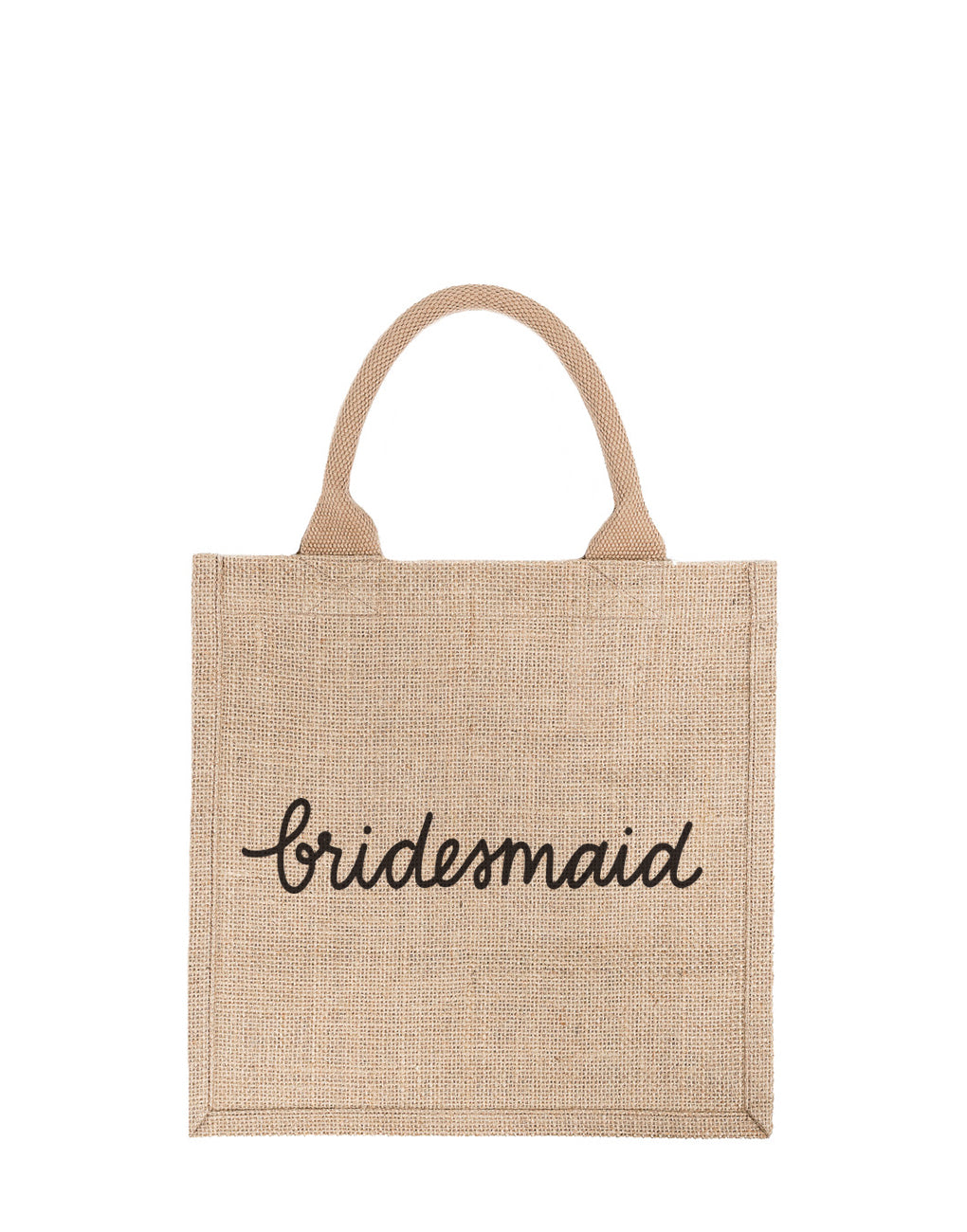 Bridesmaid Reusable Gift Tote In Black Font | The Little Market