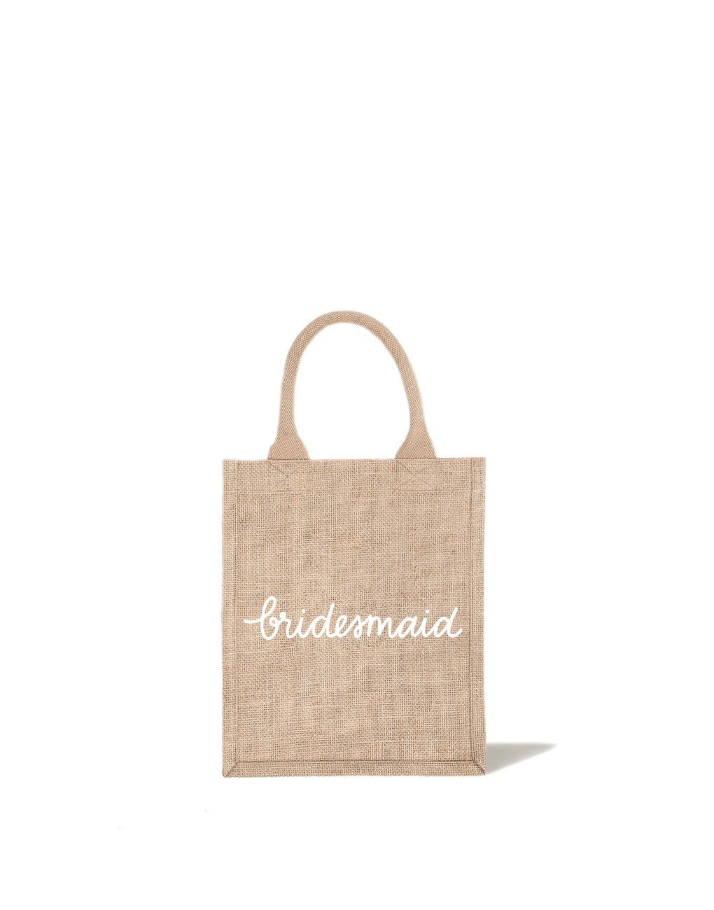 Bridesmaid Reusable Gift Tote In White Font | The Little Market