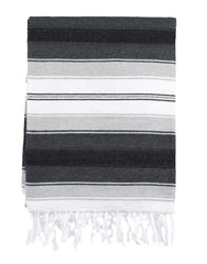 Fair Trade Hand-woven Black & Gray Mexican Serape Blanket