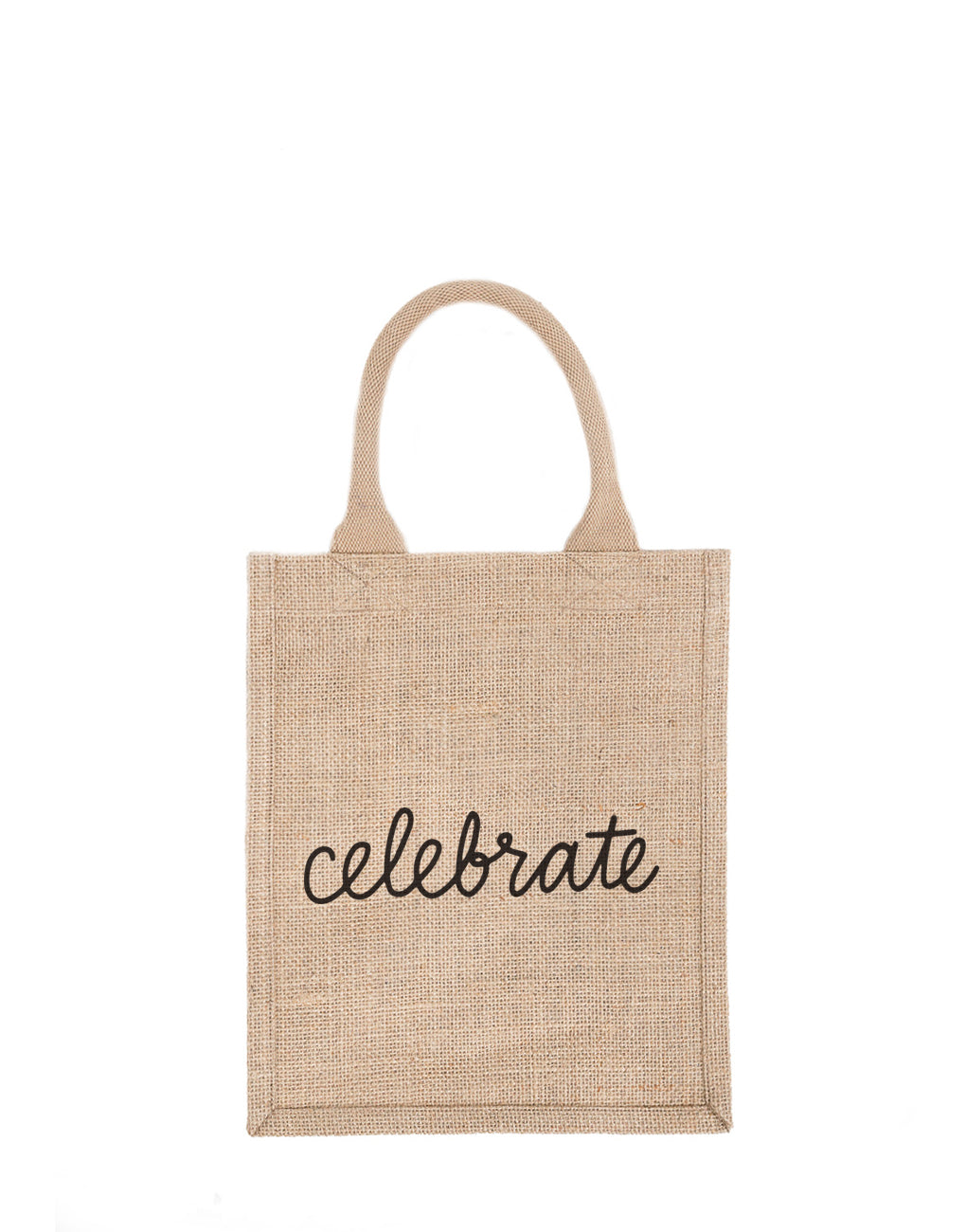 Medium Celebrate Reusable Gift Tote In Black Font | The Little Market