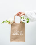 Small Celebrate Women Reusable Tote In White Font With Flowers | The Little Market