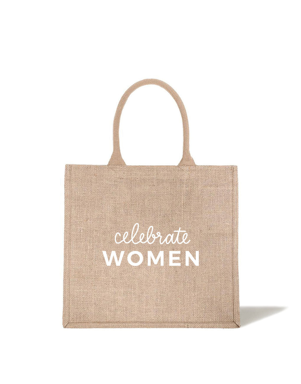 Large Celebrate Women Reusable Shopping Tote In White Font | The Little Market