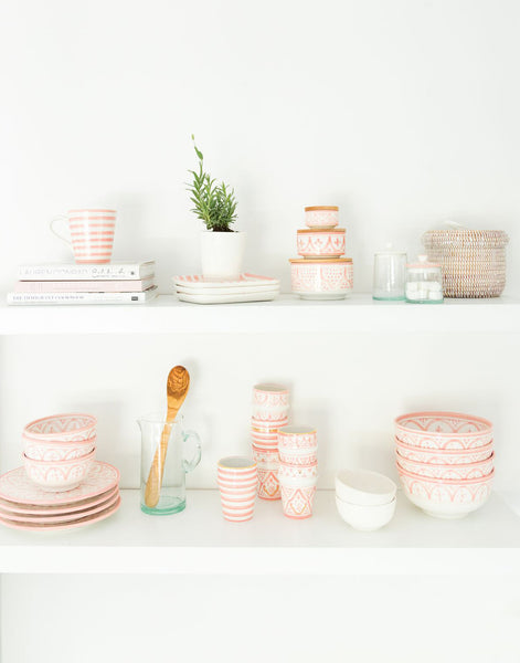 Moroccan Ceramic Cup - Blush Stripe