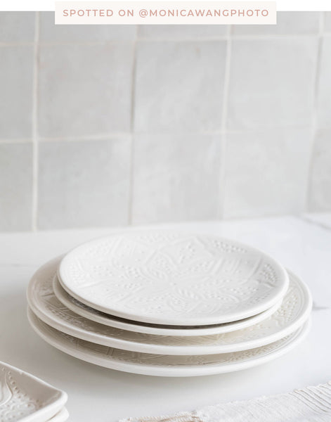 Fair Trade, Artisan Made White Ceramic Dinner Plate