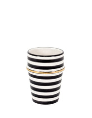 Fair Trade, Handmade Moroccan Ceramic Cup, Black Striped