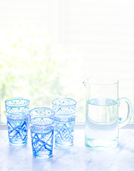 Fair Trade, Handmade Small Moroccan Glass, Blue