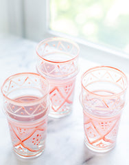 Fair Trade, Handmade Small Moroccan Glass, Pink