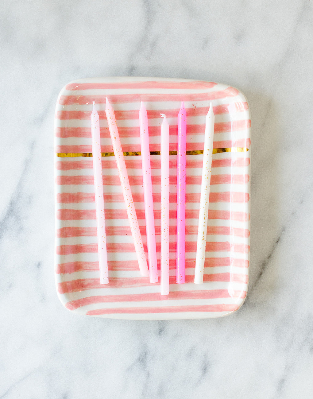 Fair Trade Handmade Ceramic Pink Striped Tray