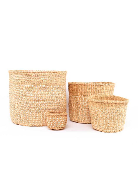 White Checkered Sisal Baskets | The Little Market