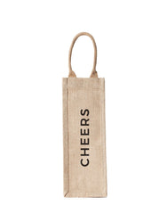 Style 2 Cheers Reusable Wine Tote In Black Font | The Little Market