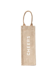 Style 2 Cheers Reusable Wine Tote In White Font | The Little Market