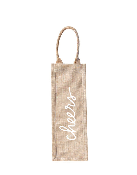 Style 1 Cheers Reusable Wine Tote In White Font | The Little Market