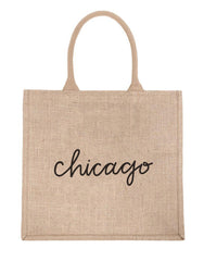 Large Chicago Reusable Shopping Tote In Black Font | The Little Market