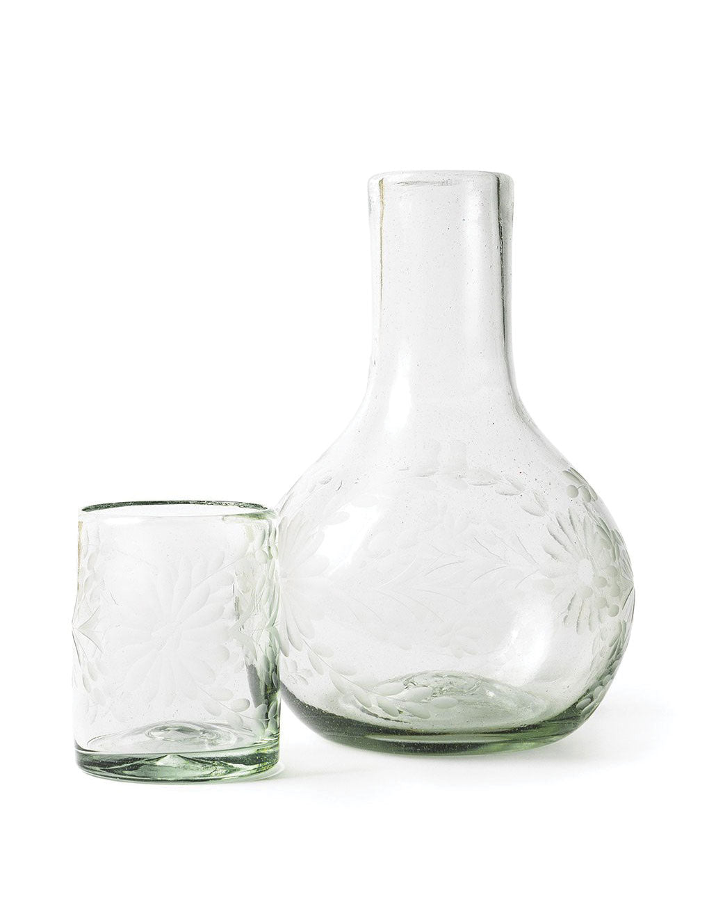 Fair Trade Clear Hand-Etched Recycled Pitcher with Glass