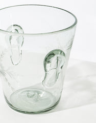 Clear Flower Glass Ice Bucket
