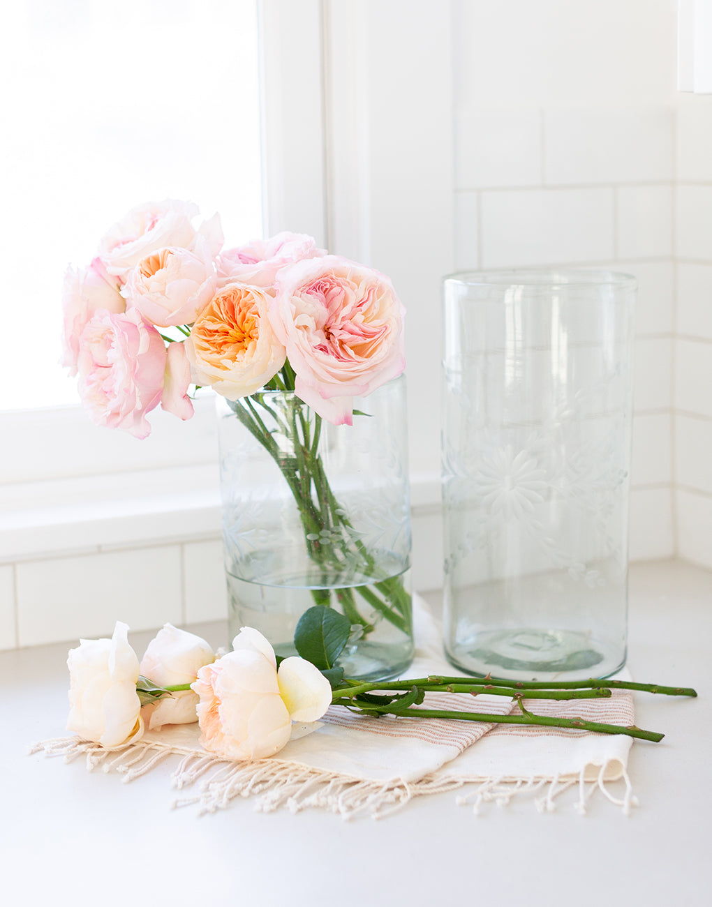Small Clear Flower Glass Vase With Flowers | The Little Market