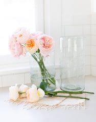 Large Clear Flower Glass Vase With Flowers | The Little Market