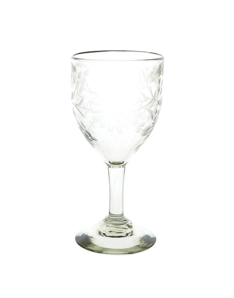 Etched Wine Glass - Clear