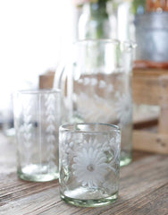 Fair Trade Clear Hand-Etched Flower Recycled Glass Drinking Glassware