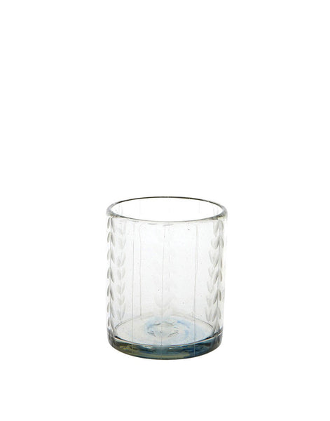 Etched Short Glass - Clear Leaves