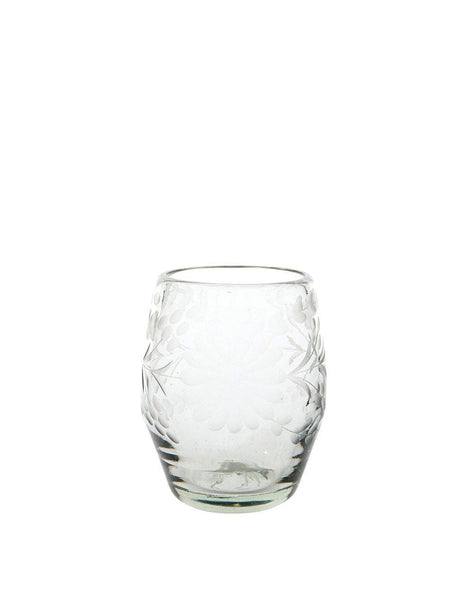Etched Stemless Wine Glass - Clear