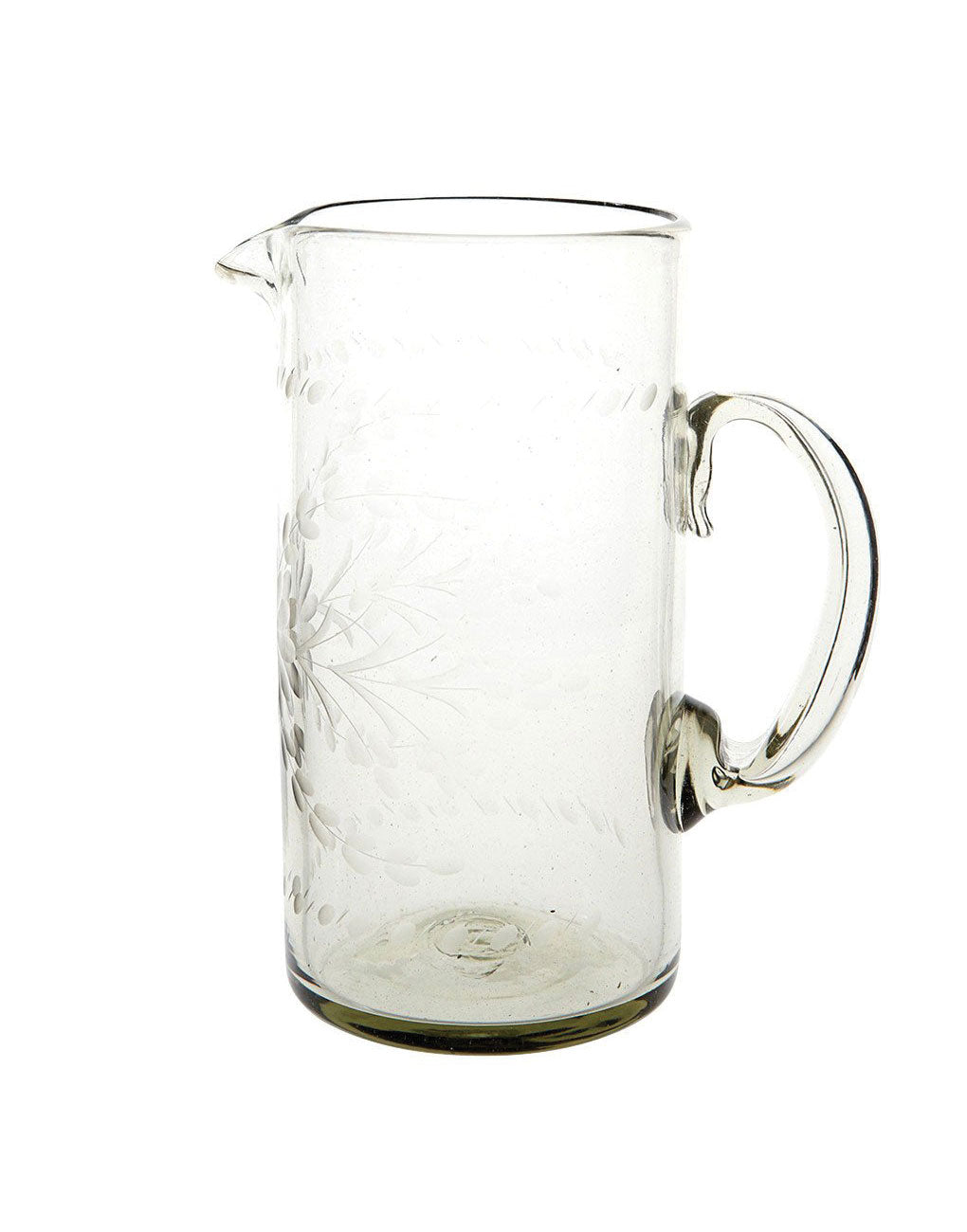 Hand Etched Recycled Tall Glass Pitcher Fair Trade Clear The Little Market