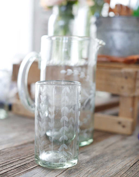 Fair Trade Clear Hand-Etched Leaves Recycled Glass Drinking Glassware