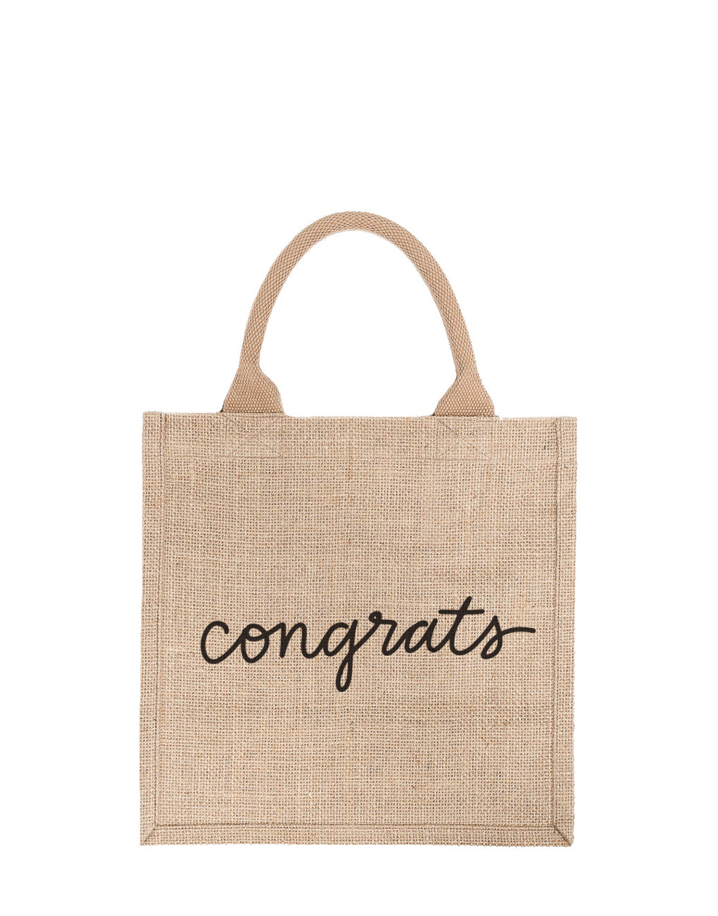 Large Congrats Reusable Gift Tote In Black Font | The Little Market