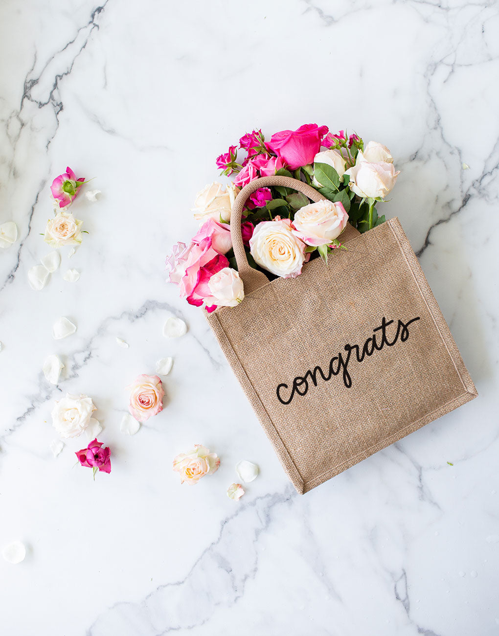 Large Congrats Reusable Gift Tote In Black Font With Flowers | The Little Market
