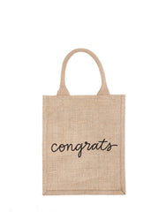 Medium Congrats Reusable Gift Tote In Black Font | The Little Market