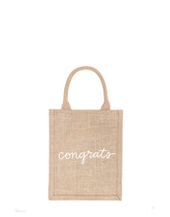 Small Congrats Reusable Gift Tote In White Font | The Little Market