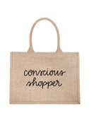 Small Conscious Shopper Reusable Shopping Tote In Black Font | The Little Market