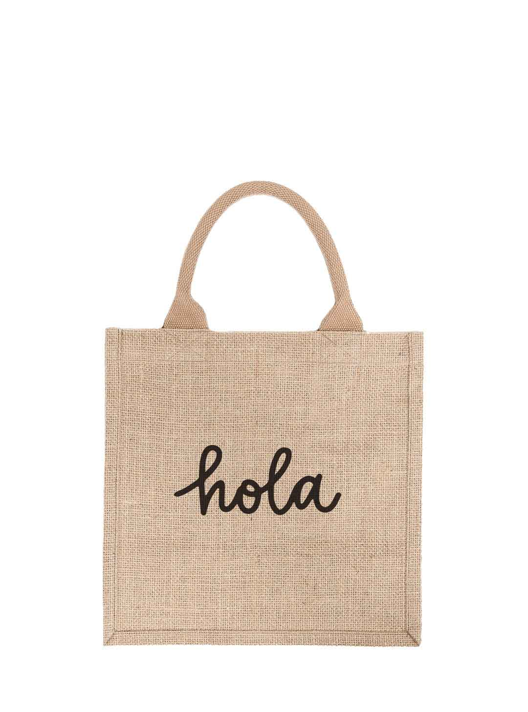 Large Hola Reusable Gift Tote In Black Font | The Little Market