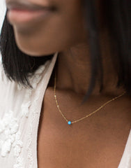 Dark Blue Opal Necklace - Yellow Gold