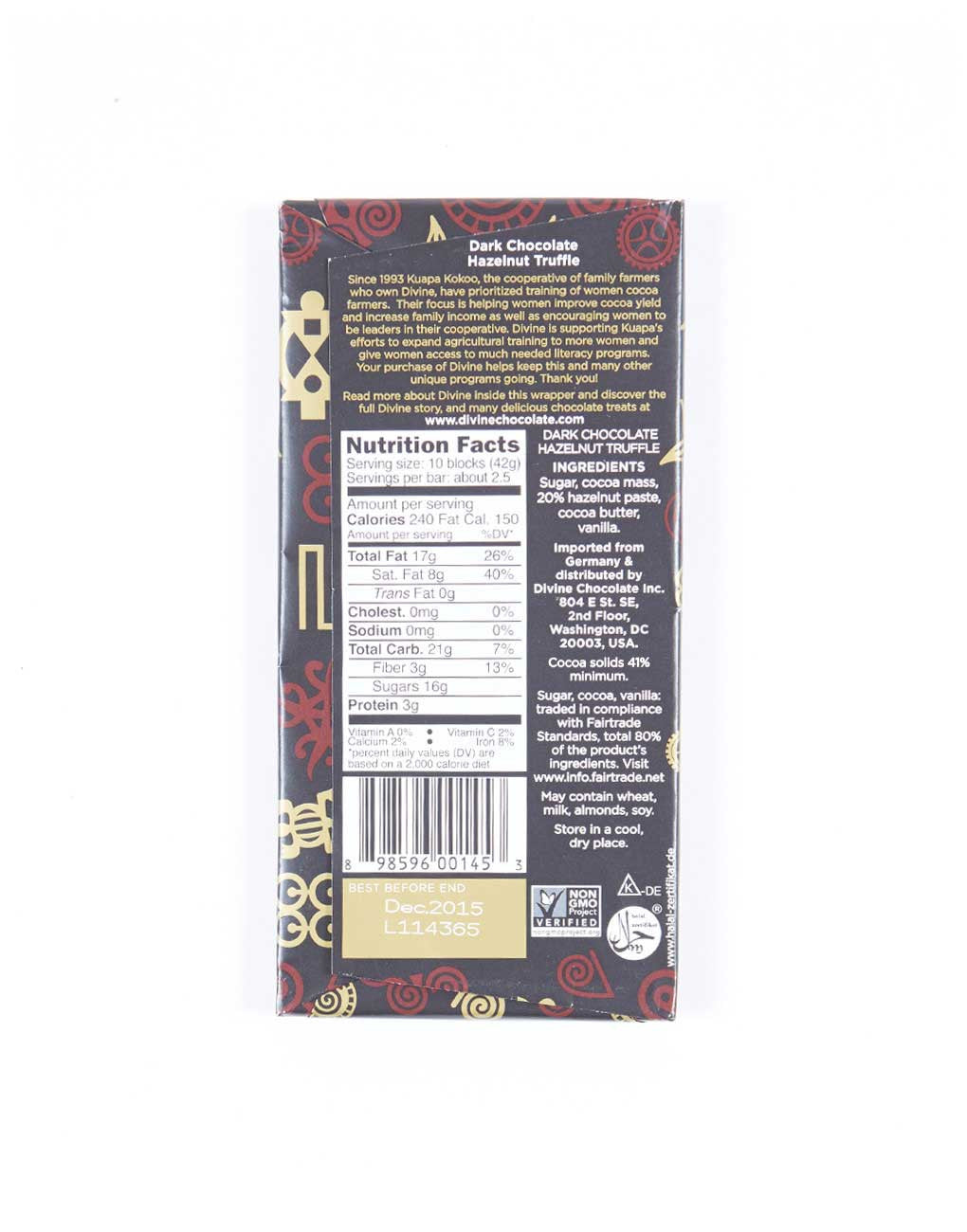 Fair Trade Natural Shade Grown Cocoa Hazelnut Dark Chocolate Bar