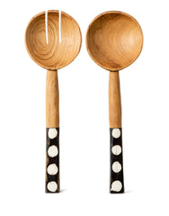 Dotted Bone And Wood Salad Servers | The Little Market