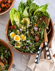 Dotted Bone And Wood Salad Servers In Salad | The Little Market