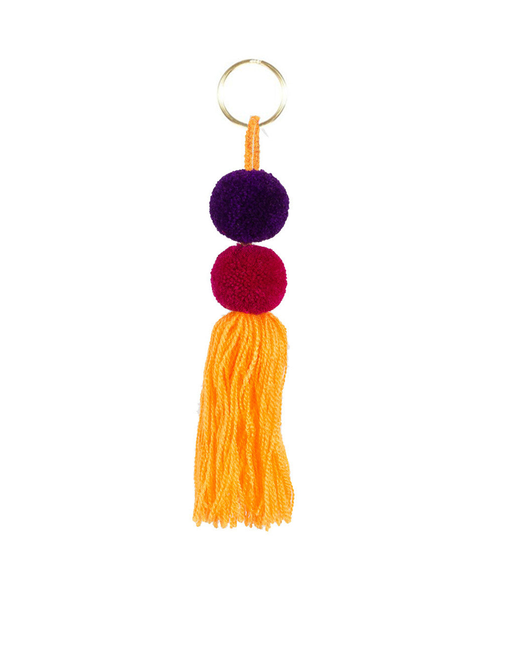 Fair Trade, Handmade Yellow Purple Magenta Double Pom Pom Tassel Keychain