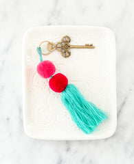 Fair Trade, Handmade Teal Red Pink Double Pom Pom Tassel Keychain