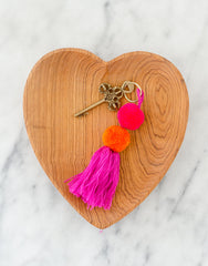 Fair Trade, Handmade Magenta Red Orange Double Pom Pom Tassel Keychain