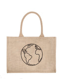 Small Earth Reusable Shopping Tote In Black Font | The Little Market