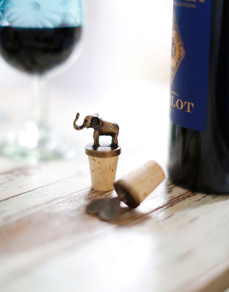 Fair Trade Zinc and Brass Elephant Cork Wine Bottle Stopper