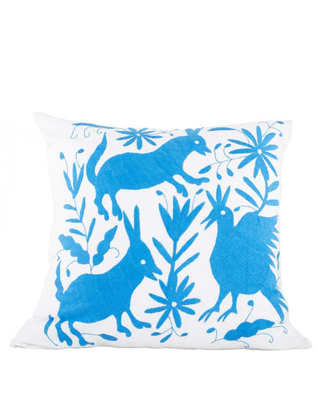 Tenango Embroidered Pillow - Blue