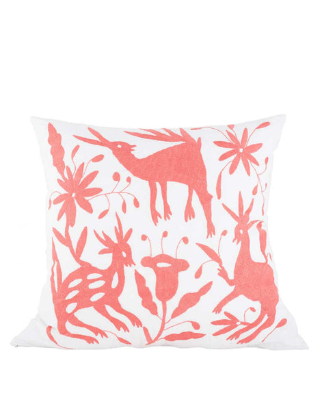 Tenango Embroidered Pillow - Coral