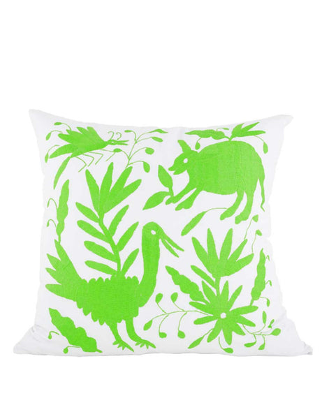 Tenango Embroidered Pillow - Green